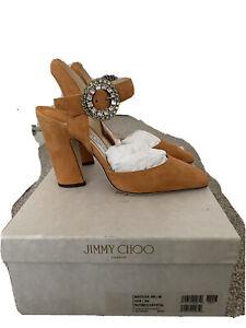 Jimmy Choo Matilda 100 UK7 EU40 US9 Nutmeg Suede, Crystal Buckle RRP £885