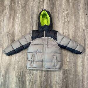 Vertical 9 Puffer Ski Jacket Youth Size 7 Fleece Lined Hood Full Zip Gray