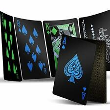 2 Decks Playing Cards, Premium Plastic Waterproof Black Playing Poker Cards