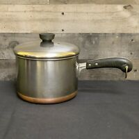 Vintage Revere Ware Copper Bottom Stainless Steel  Sauce Pan Pot Lid 2363973