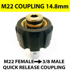 "Pressure Jet Washer M22 Female Screw Thread to Quick Release 3/8"" Male Coupling"