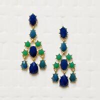 Rhinestone Statement Earrings Cocktail Formal Chandelier Green Blue Gold Tn 2.5