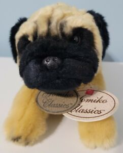 "Russ Berrie Yomiko Classics Pug Dog Stuffed Plush Animal Toy 11"""