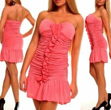 Miss Sexy Donna Bandeau Push Up Volant Mini Abito Party Dress 34/36/38 SALMONE