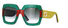 *NEW AUTHENTIC* GUCCI 0102S 006 MULTICOLOR GOLD FRAME, GREEN GRADIENT LENS