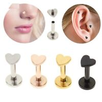 Mini Heart Nose Piercing Helix Tragus Labret Lip Ring Cartilage Earrings Jewelry