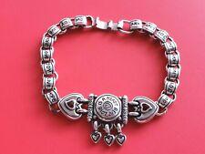 BRIGHTON Vintage LOVE HEART Red Crystal Silver Bracelet   7''