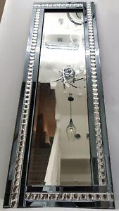 Full Length Wall Mirror Smoke Silver Grey Crystal  120x40cm Hallway Dressing