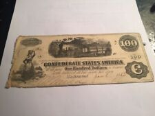 Confederate States of America $100 note, January 8, 1863