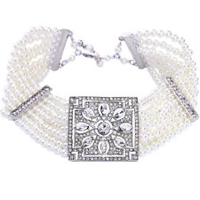 Necklace Silver Multirank Ras neck Pearl White Art Deco Square Vintage Qt13