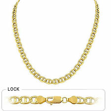 "5.9mm 24"" 27gm 14k Gold Two Tone White Pave Men's Mariner Concave Chain Necklace"