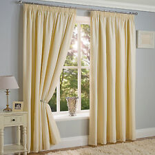 Cream CLEARANCE Lined Pair Of  Tape Top Ready Made Curtains With Diamond Design
