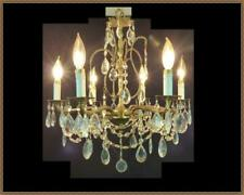 Vintage Antique Brass Chandelier Vintage Crystals 6 lights Beautiful fixture!