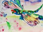 colorful dragonfly bug insect 9x12 watercolor painting art Delilah