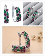 Fashion 925 silver Charm Emerald&ruby hoop earrings Ear Studs XK444