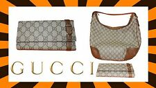 NEW Gucci GG Original Canvas Hobo Bag, Brown/Beige/Oat Color Authentic + WALLET