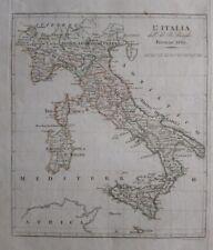 1819 Mappa Carta Geografica L'Italia dell'Ab. B. Borghi Firenze
