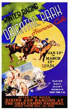 VINTAGE ART PRINT - Winter Racing, Oriental Park, Havana Cuba 1939 Horse Poster