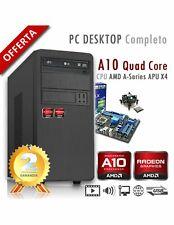 PC AMD APU A10 X4 9700 Quad Core/Ram 8GB/SSD 480GB/PC Assemblato Completo Comput