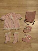 Vintage handmade Pink knit baby outfit with booties And Bonnet newborn