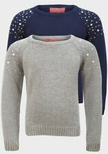 NEW Funky Diva Navy Diamonte Girls Knitted Pullover 100% Cotton - Age 3/4 Years