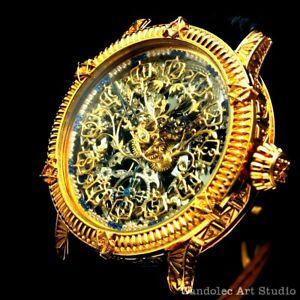 Vintage Mens Wristwatch Skeleton Men's Watch Restored Patek Philippe Movement
