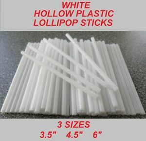 WHITE HOLLOW PLASTIC LOLLIPOP STICKS - 3 Sizes To Choose From - Lollies Crafts