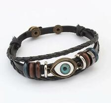Retro Exotic Leather Cord Cute Evil Eye Fashion Jewelry Button European Style