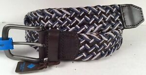 Columbia Braided Belt 34-36 Medium Leather Trim Synthetic Leather Lacing NWT