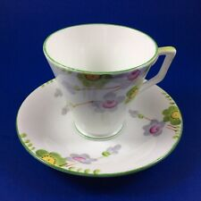 Art Deco Delphine Lime Green And Floral Bone China Tea Cup And Saucer