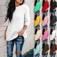 Womens Velvet Sweater Long Sleeve Tops Fluffy Fur Loose Pullover Jumper Blouse