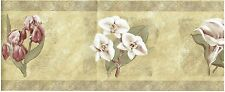 FLOWERS ORCHIDS ON GOLD TAN BACKROUND Wallpaper bordeR Wall decor