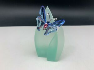 Swarovski Figurine Paradise Butterfly on a Leaf 3 1/2in Top Condition