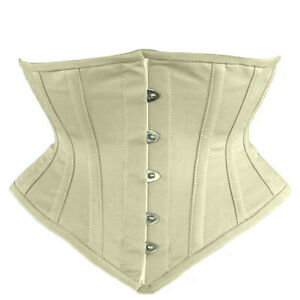 Underbust Corset Multi Color Cotton Full Steel Boned Spiral Basque Lacing Shaper