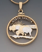 "North Dakota U.S.State Coin Pendant Necklace. Hand cut - 7/8"" diameter"