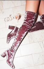 Free People Parkway Thigh High Boots X Jeffrey Campbell Faux Suede 8 Mauve Grey