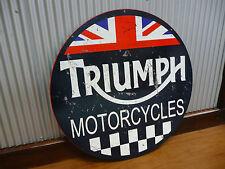 Large Round Triumph Motorcycles Metal sign Man cave bar Garage motor bike