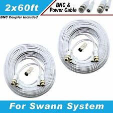 New High Quality White 60FT x 2 BNC EXTENSION CABLES F/ 24 CH SWANN DVR SYSTEMS