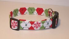 Wet Nose Designs Holiday Argyle Sweater Dog Collar Snowflakes Winter Christmas
