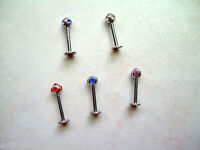 "1 PIECE 16g 5/16"" Multi Gem CZ Labret Lip Ear Tragus Cartilage Helix 3MM Ball #2"