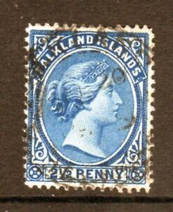 Falkland Islands Scott 14 Used 2 1/2 p deep blue Queen Victoria 1894  