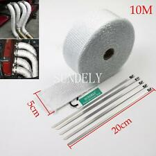 NEW 1-PCS WHITE WRAP EXHAUST MANIFOLD 50MM x 10METER + 5 CABLE TIES 20CM