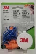 3M Corded Reusable Earplugs, 25dB NRR, Flange Design (3 Pairs With Case)