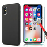For Apple iPhone X XR XS MAX Black Soft Silicone Case Slim Cover Tempered Glass