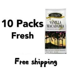 FRESH Hawaiian Isles Coffee VANILLA MACADAMIA NUT 10% Kona Ground 10 Pack 8oz