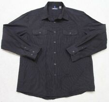 Kenneth Cole Two Pocket Dress Shirt Black XL Extra Large Long Sleeve Cotton 1-51