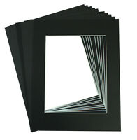 Set of 10 BLACK 11x14 Picture Mat with WhiteCore BevelCut for 8x10 +Backing +Bag