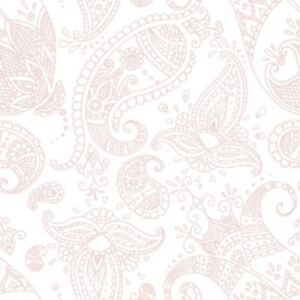 PPD Pack of 20 Napkins / Serviettes - Paisley White/ Rose - 33cm x 33cm - 3ply