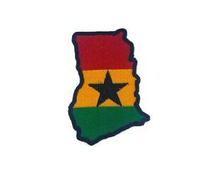 Aufnäher Flicken Brode Heißklebend Abzeichen Flagge Landkarte Ghana Stickerei
