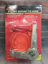 "American Tool Exchange 2"" x 20' Ratchet Tie Down with double S-Hooks , Orange"